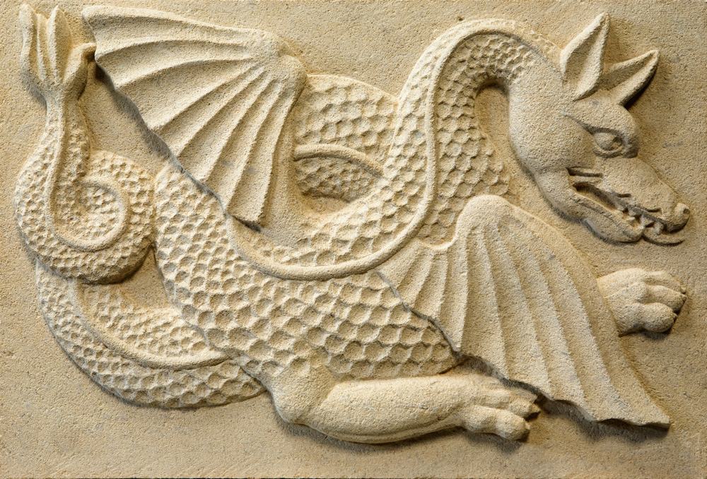 Limestone carving of a wyvern (legendary winged creature) by Geraint Davies